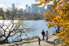 NEW YORK, US - NOVEMBER 23: Manhattan skyline with Central Park Stock Photos