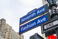 NEW YORK, US - NOVEMBER 23: Seventh Avenue and Fashion Avenue st Royalty Free Stock Photo