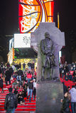 NEW YORK, US - NOVEMBER 22: Statue of Father Duffy in Times Squa Royalty Free Stock Photography