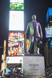NEW YORK, US - NOVEMBER 22: Statue of George M. Cohan in Times S. Quare at night. November 22, 2013 in New York Stock Photo