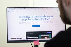 Free New York, USA - 26 April 2021: WordPress Website Page On Screen, Man Using Service, Illustrative Editorial Stock Images - 217401574