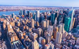 New York, USA: Aerial panorama of downtown Manhattan royalty free stock photography