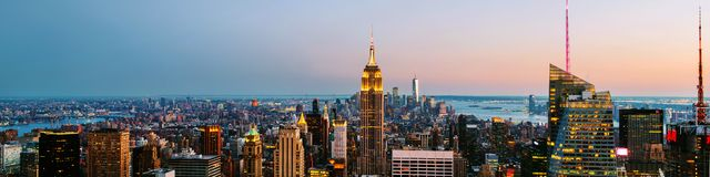Aerial view on the city skyline in New York City, USA, on a warm sunny summer royalty free stock images