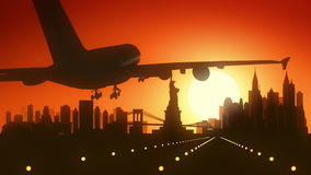New York USA America Skyline Sunrise Landing Stock Image