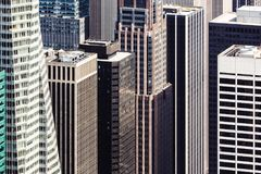New York cityscape birds eye view. NEW YORK, USA - Apr 30, 2016: Streets and roofs of Manhattan. New York cityscape viewed from top of Empire State Building Stock Photography