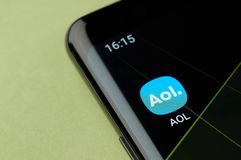 Aol news service icon. New york, USA - April 22, 2019: Aol news service icon macro view on smartphone screen desktop royalty free stock photo