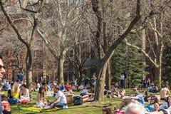 NEW YORK USA - APRIL 14, 2018: Att tycka om för folk av en solig dag för sommar parkerar in, den västra byn, New York royaltyfri bild