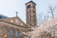 NEW YORK, USA - APRIL 14, 2018: Judson Memorial Church in spring stock photo