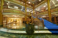 Main hall in Disney Fantasy cruise ship. New york, USA - April 27, 2015: Main hall in Disney Fantasy cruise ship with no people stock photo