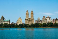 NEW YORK, USA - August 30, 2018: New York City. View of Manhattan from Central Park.  royalty free stock photo