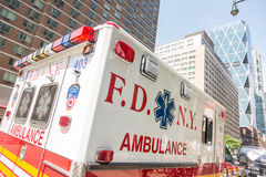 NEW YORK, USA - AUGUST 20, 2014: FDNY Ambulance in Manhattan pro Stock Image