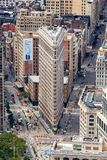 NEW YORK, USA - AUGUST 6, 2017: Flatiron Building aerial view o royalty free stock photography