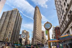 NEW YORK, USA - AUGUST 7, 2017: Flatiron Building view on Augus royalty free stock photography