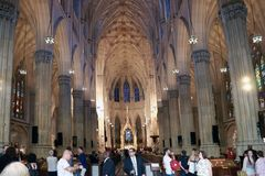 NEW YORK, USA - August 28, 2018: Interior of St. Patrick`s Cathedral, a famed neogothic Roman Catholic Cathedral in New York City royalty free stock photography