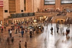 New York, USA. August 31, 2017 : Main Hall Grand Central Station Terminal Interior View. People commute to work in motion. stock photos