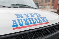 NYPD New York Police Department Auxiliary vehicle on the street. New York, USA - August 28, 2017: NYPD Police Department Auxiliary vehicle on the street Stock Photo