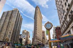 NEW YORK, USA - 7. AUGUST 2017: Plätteisen-Gebäudeansicht über Augus Lizenzfreie Stockfotografie