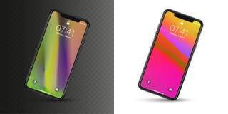 New York, USA - 22. August 2018: realistisches neues schwarzes Telefon Frameless Modellmodell Smartphone auf dem ganzen Bildschir lizenzfreie stockfotografie