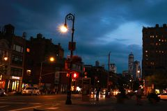NEW YORK, USA - August 30, 2018: New York skyline by night. royalty free stock photos