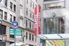 Staples Office Superstore in New York city. stock photos