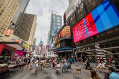 NEW YORK, USA - AUGUST 6, 2017: Times Square, a busy tourist int Royalty Free Stock Images