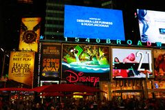 NEW YORK, USA - August 30, 2018: Times Square is a busy tourist intersection of neon art and commerce and is an iconic royalty free stock photos