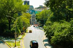 NEW YORK, USA - August 30, 2018: View of the green street in New York royalty free stock photos