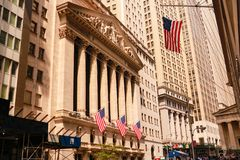 NEW YORK USA - Augusti 31, 2018: Den New York börsen i New York, NY Det är det största utbytet i världen vid marknaden royaltyfri bild