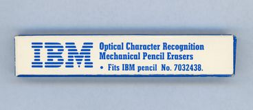 NEW YORK, USA - CIRCA NOVEMBER 2018: Box of IBM optical character recognition mechanical pencil erasers, fits IBM pencil No. stock photography