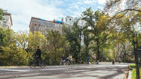 People cycling in Central Park, Manhattan stock photo