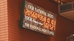 NEW YORK, USA- DECEMBER 2017: National Debt of USA clock in Manhattan. Close up stock photo