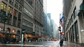 NEW YORK, USA - DECEMBER, 2017: Typical American street and intersection in Manhattan. Wide view stock footage