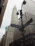 New York, USA, December 1, 2016: The view of Chrysler Building from East 41st Street corner with Lexington Avenue stock image