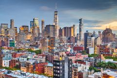 New York, New York, USA downtown city skyline stock images