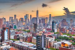 New York, New York, USA downtown city skyline royalty free stock photo