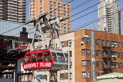 New York, USA - The famous Roosevelt Island cable tram. New York, USA-October 9, 2014: The famous Roosevelt Island cable tram car that connects Roosevelt Island Royalty Free Stock Images