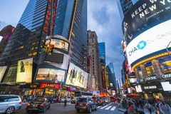 New york,usa,09-03-17: famous,Time squre at night with crowds stock images