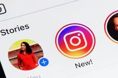 Instagram application menu. New york, USA - February 02, 2018: Instagram application menu on iPad screen. New button in instagram application Stock Image