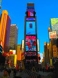 New York, USA - February 13, 2013: The Times Square is a busy tourist intersection of neon art and commerce and is an Stock Photos