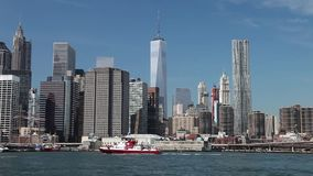 NEW YORK, USA - The fire boat No.343 on East River stock footage