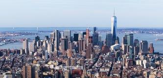 New York USA: Flyg- sikt av Manhattan horisont Royaltyfri Fotografi