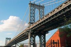 New York USA: horisont, skyskrapor och Manhattan bro som beskådas från Brooklyn på September 16, 2014 Royaltyfria Foton