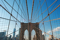 New York, Usa: an iconic view of Brooklyn Bridge on September 16, 2014 Royalty Free Stock Photography