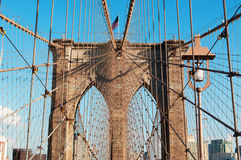 New York, Usa: an iconic view of Brooklyn Bridge on September 16, 2014 Royalty Free Stock Images