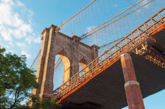New York, Usa: an iconic view of Brooklyn Bridge on September 16, 2014 Stock Image