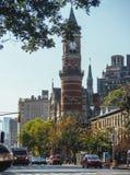 Jefferson Market Library clock tower. New York, USA / Jefferson Market Library clock tower stock images