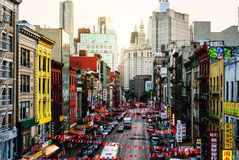 Aerial view of a chinatown street in New York, USA Stock Photos