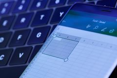 Microsoft excel menu on smartphone screen stock photography