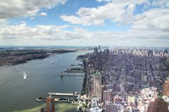 NEW YORK,USA- JUNE 18,2018:Aerial view of new york city from one world trade building. NEW YORK,USA- JUNE 18,2018:Aerial view of new york city from one world royalty free stock images