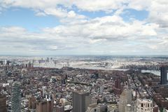 NEW YORK,USA- JUNE 18,2018:Aerial view of new york city from one world trade building. NEW YORK,USA- JUNE 18,2018:Aerial view of new york city from one world stock photo